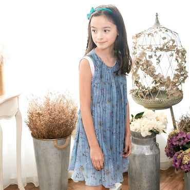 Blue Floral Dress - Kid's Clothing