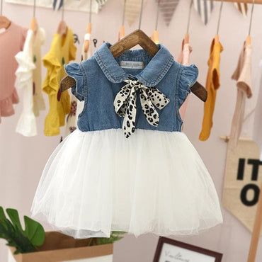 Casual Jean Yarn Sleeveless Bow Tie Children Clothing -