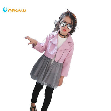 Little Girl Wearing Pink Faux Leather Diagonal Zipper Short Jacket
