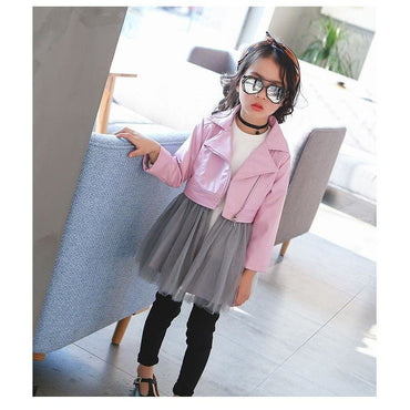 Short diagonal zipper leather jacket with dress | daddysgirlclothing.com | DG Daddy's Girl | Daddy's Girl | Dresses for Prettiest Girls | Premium Children's Wear | Unique Children's Clothes | Trendy children's Clothes | Great Quality Fashion for Girls | Inexpensive Boutique | Adorable Clothes for Little Angels | Prettiest Girl on the Planet | Shop Now