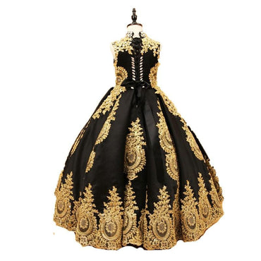 Flower Girl High Neck Black Crystal Gold Lace Appliques Ball