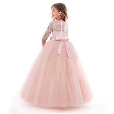 Flower Girl O Neck Half Sleeve Princess Ball Gown