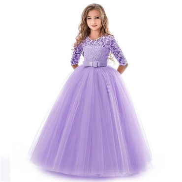 Flower Girl O Neck Half Sleeve Princess Ball Gown - Light