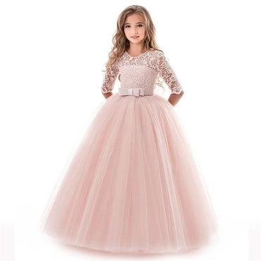 Flower Girl O Neck Half Sleeve Princess Ball Gown - Pink /