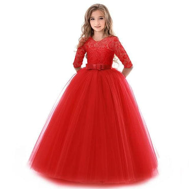Flower Girl O Neck Half Sleeve Princess Ball Gown - Red /