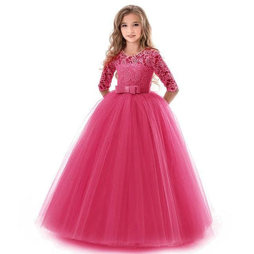 Flower Girl O Neck Half Sleeve Princess Ball Gown - Rose Red