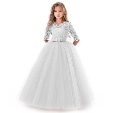 Flower Girl O Neck Half Sleeve Princess Ball Gown - Silver /