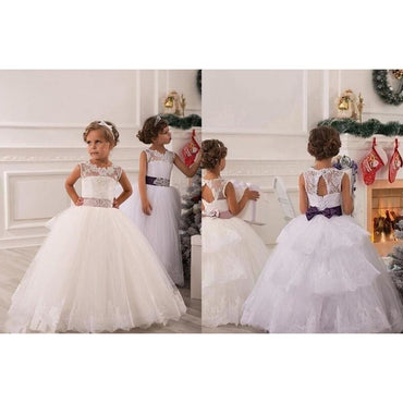 Flower Girl White Lace-Up Appliques Ball Gown for Baby Girls