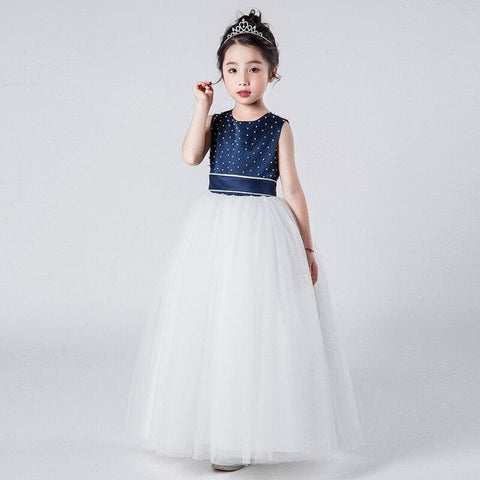 Flower Girls O-Neck Sleeveless Party Dress Bow Ball Gowns