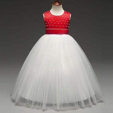Flower Girls O-Neck Sleeveless Party Dress Bow Ball Gowns -