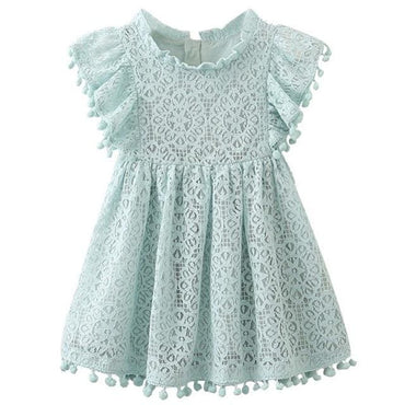 Blue Lace Summer Dress with Butterfly Sleeves