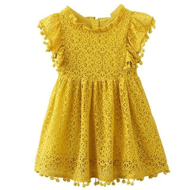 Yellow Lace Summer Dress with Butterfly Sleeves