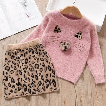 Long Sleeve Winter Dress Leopard Pattern - AX1279 Pink / 7T