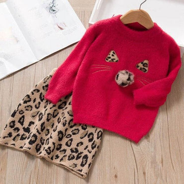 Long Sleeve Winter Dress Leopard Pattern - AX1279 Red / 7T -