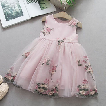 Mesh Party Dress Flowers Tulle - Kids & Babies