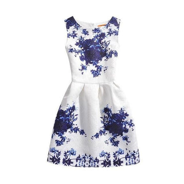 Dark Blue Floral Printed Sleeveless Summer Dress