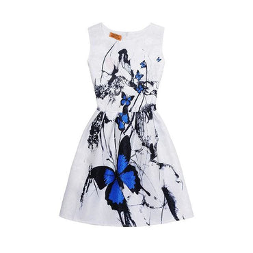 Blue and Charcoal Butterfly Motif Printed Sleeveless Summer Dress