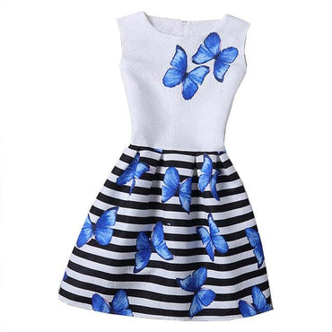 Light Blue Butterfly and Black Striped Motif Printed Sleeveless Summer Dress
