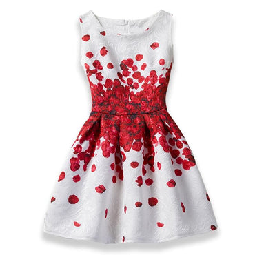 Red and White Floral Printed Sleeveless Summer Dress