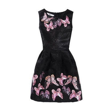 Pink Butterflies on Black Background Printed Sleeveless Summer Dress