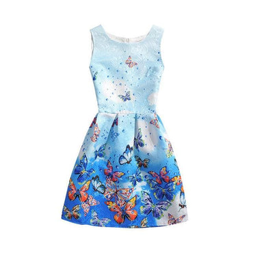 Light Blue Floral Printed Sleeveless Summer Dress