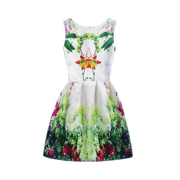 Green Floral Printed Sleeveless Summer Dress