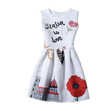 Italy Themed Printed Sleeveless Summer Dress