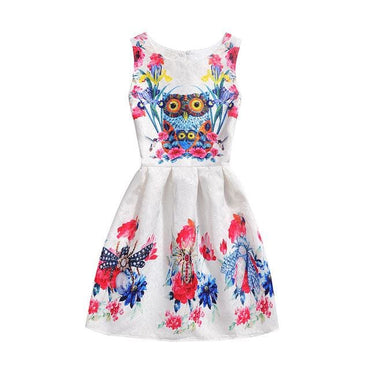 Owl and Moths Motif Printed Sleeveless Summer Dress