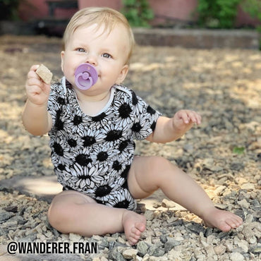 Short Sleeve Baby Bodysuit FLOWER POWER - Short Sleeve Baby