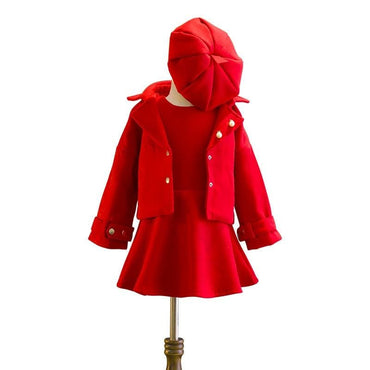 Red Three-Piece Winter Outfit: Dress, Jacket and Beanie
