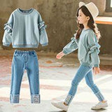 Top and Demin Pants Sets Kids Clothes For 4-13ymedium