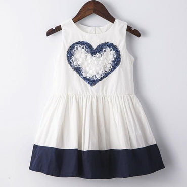 White Dress with Blue Heart and Hem